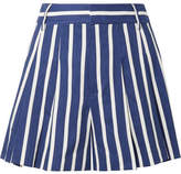 Alice + Olivia Alice Olivia - Scarlet Pleated Striped Linen-blend Shorts - Blue