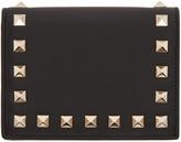 Valentino Black Small Rockstud French Flap Wallet