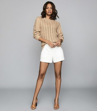 Reiss SILVIE OPEN-KNIT COTTON JUMPER Beige