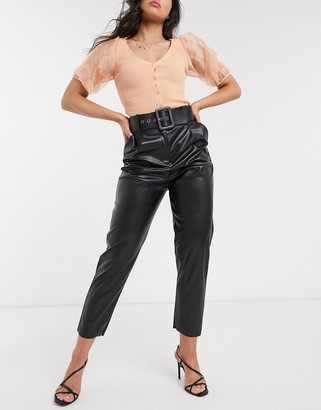 Style Cheat high waist pu trouser with belt detail in black