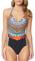 Jessica Simpson Dakota Placement One-Piece Printed Maillot