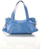 Tod's Light Blue Leather Silver Tone Stitched Trim Satchel Handbag