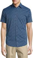 Peter Millar Frenchman Performance Floral-Print Short-Sleeve Sport Shirt, Navy