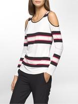 Calvin Klein Striped Cold Shoulder Top