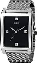 GUESS GUESS? Men's U0279G1 Rectangular Silver-Tone Diamond-Accented Mesh Watch