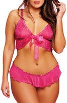 Glitter Plus Size Young At Heart Bra & Crotchless Panty Set