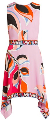 Emilio Pucci Heliconia-Print Handkerchief-Hem Dress