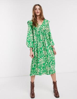 ASOS DESIGN smock midi dress in green floral