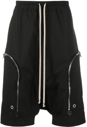 Rick Owens Dropped-Crotch Zip-Pocket Shorts