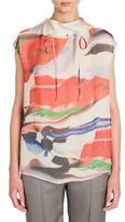 Giorgio Armani Printed Silk Tie-Thru Blouse