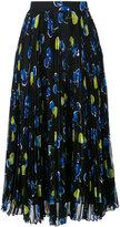 MSGM fish print pleated midi skirt