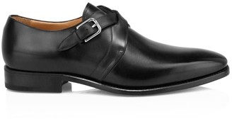 Paul Stuart Galante Crisscross Double Monk Strap Leather Shoes