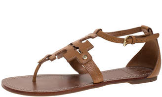 Tory Burch Tan Leather Phoebe Thong Ankle Strap Flat Sandals Size 38.5