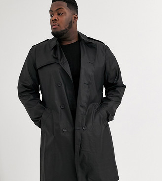 Asos Design DESIGN Plus double breasted trench coat in black PU