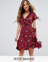 Uttam Boutique Petite Paisley Print Frill Wrap Dress