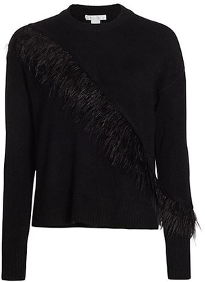 Design History Feather Trim Crew Sweater