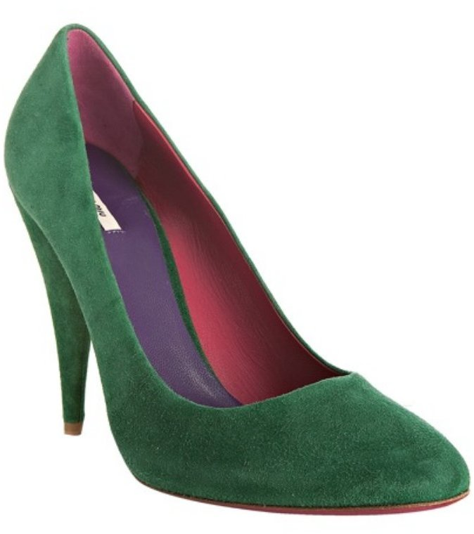 Miu Miu emerald suede pointed toe pumps