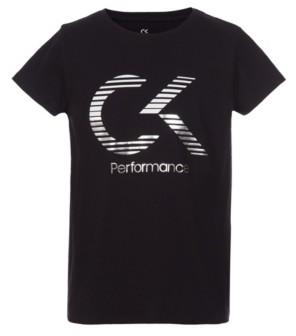 Calvin Klein Big Girls Short Sleeve Logo Tee with Screenprint Metallic Ink