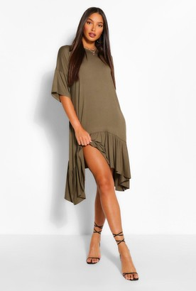 boohoo Tall Jersey Oversized Dipped Hem Smock Dress