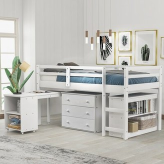 Isabelle & MaxTM Cunegund Twin Low Loft Bed with Desk, 3 Drawers and Bookcase Isabelle & Max Bed Frame Color: Espresso