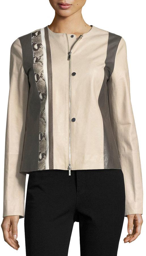 Lafayette 148 New York Bridgin Colorblocked Leather Jacket