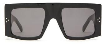 Celine Oversized Flat Top Acetate Sunglasses - Womens - Black