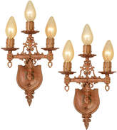 Rejuvenation Pair of Polychrome Cast Metal Revival-Style Sconces