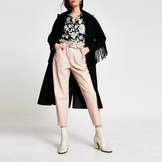 River Island Pink faux leather belted peg trousers