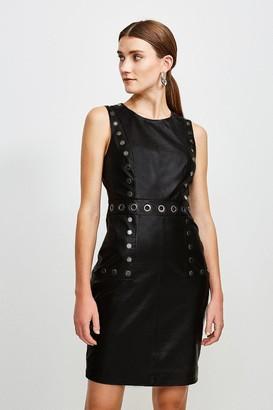 Karen Millen Eyelet Trim Leather Shift Dress