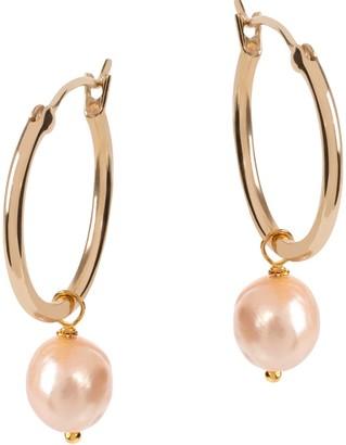 Amadeus Venus Gold Hoop Earrings With Pink Pearl Charm - Large