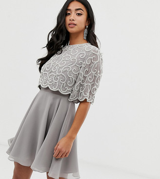 ASOS DESIGN Petite pearl embellished crop top mini dress