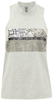 adidas by Stella McCartney V-neck Snake-print Cotton-blend Tank Top - Womens - Grey Print