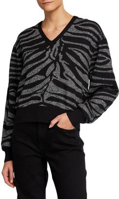 7 For All Mankind Metallic Zebra-Stripe Sweater
