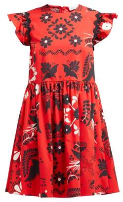 RED Valentino Ruffle-sleeve Floral-print Cotton Mini Dress - Womens - Red Multi