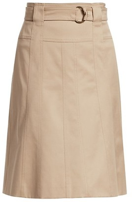 Akris Punto Belted Cotton A-Line Skirt