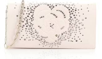Chanel Camellia Diamante Convertible Clutch Crystal Embellished Satin Small