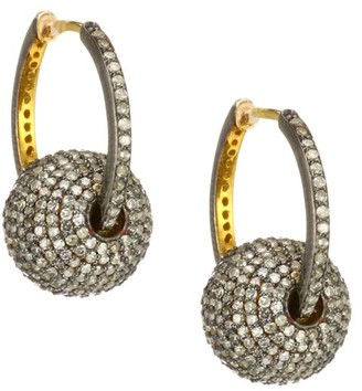 Nina Gilin Black Rhodium-Plated & Diamond Sphere Charm Hoop Earrings