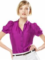 Petite silk puff-sleeve solid blouse