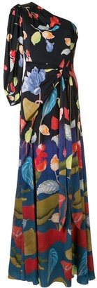 Peter Pilotto Floral One-Shoulder Dress