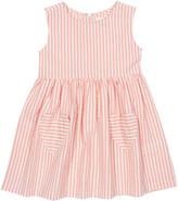 Kite Girls' Casual Dresses Salmon - Salmon Seersucker Heart-Pocket Organic Cotton Sleeveless Dress - Newborn, Infant, Toddler & Girls