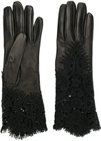 Ermanno Scervino lace insert gloves - women - Leather - 7