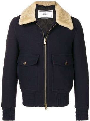 Ami Paris Shearling-trimmed Aviator Jacket