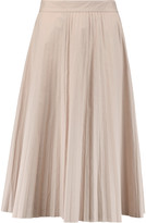 Joseph Pleated cotton-poplin midi skirt