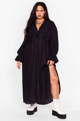 Nasty Gal Womens Attention Pleat Plus Maxi Dress - Black - 16