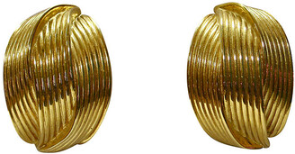 One Kings Lane Vintage Givenchy Gold-Plated Carved Earrings - Wisteria Antiques Etc