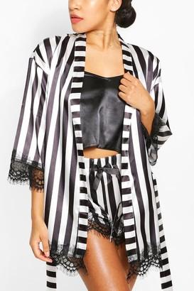 boohoo Satin Stripe & Eyelash Lace dressing gown Cami & Short Set