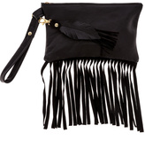 Fringe Leather Metal Midnight Wristlet