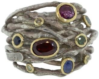 BOAZ KASHI Sterling Silver, Tourmaline, Sapphire And Diamond Wrap Ring