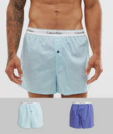 Calvin Klein 2 pack slim fit woven boxers in blue