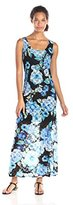 Tiana B Women's Sleeveless Floral-Print Lace Maxi Dress